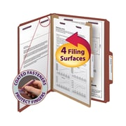 """Smead® Pressboard Classification File Folder with SafeSHIELD® Fasteners, 1 Divider, 2"""" Exp., Letter, Red, 10/Box (13775)"""