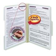 "Smead® Pressboard File Folder with SafeSHIELD® Fasteners, 1/3-Cut Tab, 3"" Exp., Legal, Gray/Green 25/Box (19944)"