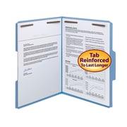 Smead® Fastener File Folder, 2 Fasteners, Reinforced 1/3-Cut Tab, Letter Size, Blue, 50/Box (12040)