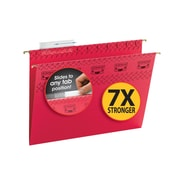 Smead® TUFF® Hanging File Folder with Easy Slide Tab, 1/3-Cut Sliding Tab, Letter Size, Red, 18/Box (64043)
