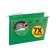 Smead® TUFF® Hanging File Folder with Easy Slide Tab, 1/3-Cut Sliding Tab, Letter Size, Green, 18/Box (64042)