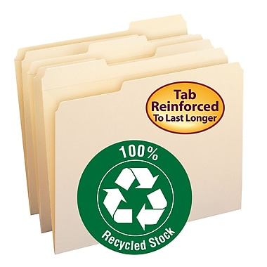 Smead® 100% File Folder, Reinforced 1/3-Cut Tab, Letter Size, Manila, 100/Box (10347)