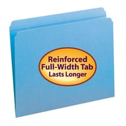 Smead® File Folder, Reinforced Straight-Cut Tab, Letter Size, Blue, 100/Box (12010)