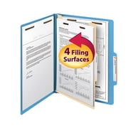 "Smead® Classification File Folder, 1 Divider, 2"" Expansion, Letter Size, Blue, 10/Box (13701)"