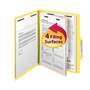 "Smead® Classification File Folder, 1 Divider, 2"" Expansion, Letter Size, Yellow, 10/Box (13704)"