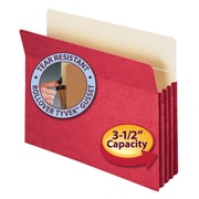 """Smead® File Pocket, Straight-Cut Tab, 3-1/2"""" Expansion, Letter Size, Red (73231)"""