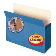 "Smead® File Pocket, Straight-Cut Tab, 5-1/4"" Expansion, Letter Size, Blue, Each (73235)"