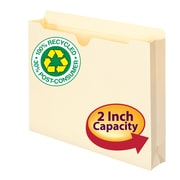 "Smead® 100% Recycled File Jacket, Reinforced Straight-Cut Tab, 2"" Expansion, Letter Size, Manila, 50/Box (75605)"
