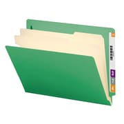 "Smead® End Tab Classification File Folder, 2 Divider, 2"" Expansion, Letter Size, Green, 10/Box (26837)"