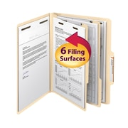 "Smead® Classification File Folder, 2 Divider, 2"" Expansion, Letter Size, Manila, 10/Box (14000)"