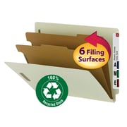 "Smead® 100% Recycled End Tab Classification Folder, 2 Dividers, 2"" Expansion, Letter Size, Gray/Green, 10/Box (26802)"