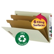 """Smead® 100% Recycled End Tab Classification Folder, 2 Dividers, 2"""" Expansion, Gray/Green, 10/Box"""