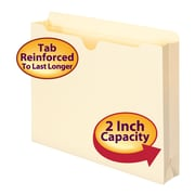 "Smead® File Jacket, Reinforced Straight-Cut Tab, 2"" Expansion, Letter Size, Manila, 50/Box (75560)"