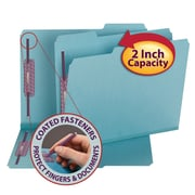 "Smead® Pressboard Fastener File Folder with SafeSHIELD® Fasteners, 1/3-Cut Tab, 2"" Exp., Letter, Blue, 25/Box (14937)"