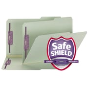 "Smead® Pressboard File Folder w/ SafeSHIELD® Fasteners, 2/5 Tab Right Position, 2"" Exp., Legal, Gray/Green, 25/Box (19920)"