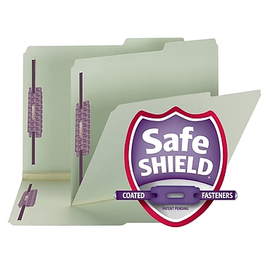 Smead® Pressboard File Folder with SafeSHIELD® Fasteners, 2/5 Tab, 2
