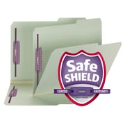"Smead® Pressboard File Folder with SafeSHIELD® Fasteners, 2/5 Tab, 2"" Exp., Letter, Gray/Green, 25/Box (14920)"