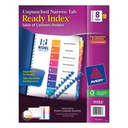 Avery(R) Ready Index(R) Unpunched Table of Contents Dividers 11153, Narrow Tabs, Multicolor, 8-Tab, 5 Sets
