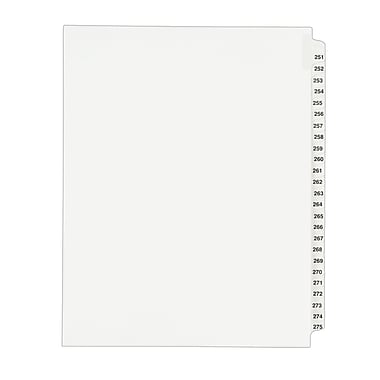Avery(R) Standard Collated Legal Dividers Avery Style 1340, Letter Size, 251-275 Tab Set