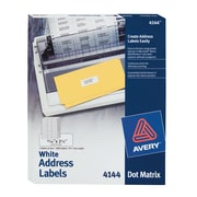 "Avery(R) Continuous Form White Address Labels for Dot Matrix Printers 4144, 15/16"" x 2-1/2"",  Box of 3000"