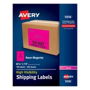 "Avery(R) High-Visibility Shipping Labels 05936, Neon Magenta, 8-1/2"" x 11"", Pack of 100"