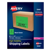 "Avery(R) High-Visibility Shipping Labels 05940, Neon Green, 8-1/2"" x 11"", Pack of 100"