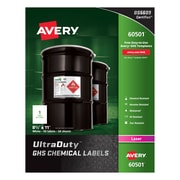 """Avery(R) UltraDuty(TM) GHS Chemical Labels for Laser Printers, 60501, 8-1/2"""" x 11"""", Box of 50, Polyester Film"""