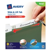 Avery(R) Slide & Lift Tab Hanging Folder 73505, Green, Letter Size, Pack of 12