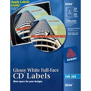 Avery(R) Glossy White Full-Face CD Labels for Inkjet Printers 8944, 20 Disc Labels and 40 Spine Labels