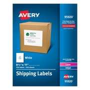 "Avery(R) White Shipping Labels 95920, 8-1/2"" x 11"", Pack of 250"