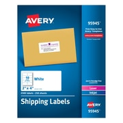 "Avery(R) White Shipping Labels 95945, 2"" x 4"", Pack of 2500"