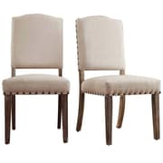 Kingstown Home Satine Nailhead Side Chair (Set of 2); Bonded Leather - Brown