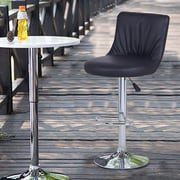 AdecoTrading Adjustable Height Swivel Bar Stool (Set of 2); Black