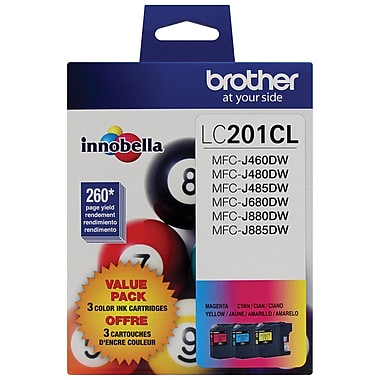 Brother LC2013PKS High Yield Ink Cartridges, Cyan/Magenta/Yellow, 3/Pack