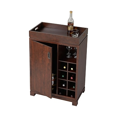 Homestar 2-Door Wine Cabinet With Removable Tray, Brown