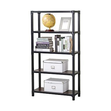 Homestar 4-Shelf Mixed Materials Bookshelf, Cherry