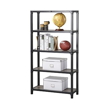 Homestar 4-Shelf Mixed Materials Bookshelf, Reclaimed Wood