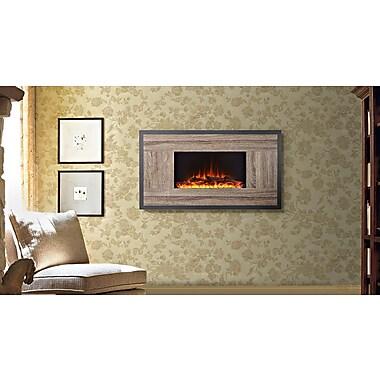 Flamelux – Foyer élecrtique mural Oland, 41 po larg., bois récupéré