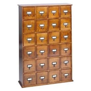 Leslie Dame Library Style 24 Drawer Multimedia Cabinet; Oak