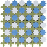 Interceramic Aquarelle Random Sized Ceramic Mosaic Tile in Star Blue