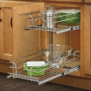 Rev-A-Shelf 12'' x 18'' 2 Tier Wire Basket Cabinet Organizer Rack