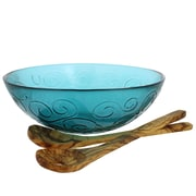 French Home Swirl 3 Piece Recycled Glass Serving Bowl Set; Capri Teal