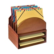 Bindertek Stacking Wood Desk Organizers Step Up File & 2 Tray Kit, Cherry (WK2-CH)