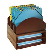 Bindertek Stacking Wood Desk Organizers Step Up File & 2 Tray Kit, Mahogany (WK2-MA)