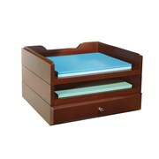 Bindertek Stacking Wood Desk Organizers, 2 Trays & 1 Drawer Kit, Mahogany (WK5-MA)