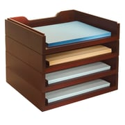Bindertek Stacking Wood Desk Organizers, 4 Letter Tray Kit, Mahogany (WK6-MA)