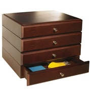 Bindertek Stacking Wood Desk Organizers, 4 Supply Drawer Kit, Mahogany (WK7-MA)