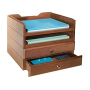 Bindertek Stacking Wood Desk Organizers, 2 Tray & 2 Drawer Kit, Cherry (WK8-CH)