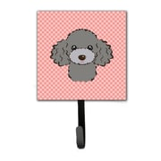 Caroline's Treasures Checkerboard Silver Gray Poodle Leash Holder and Wall Hook
