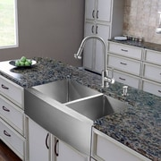 Vigo 36 inch Farmhouse Apron 60/40 Double Bowl 16 Gauge Stainless Steel Kitchen Sink